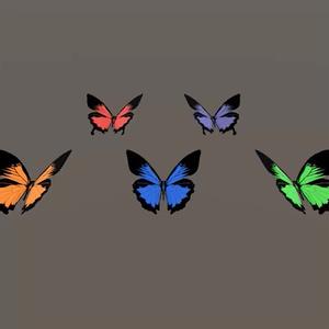 蝶(オオルリアゲハ)のローポリ3Dモデル△8ポリゴン、テクスチャ5色、UnityのAnimation付【オリジナル3Dモデル】
