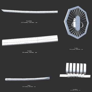 【オリジナル3Dモデル】打刀(合計△1086ポリゴン)