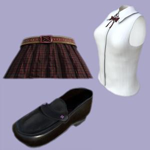 幽狐さん用衣装モデル ブラウス、スカート、ローファー