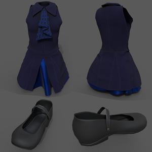 幽狐さん用衣装モデル ドレス、靴