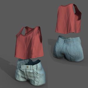 幽狐さん用着せ替え衣装 ノースリーブシャツ、ショートパンツ
