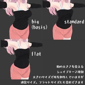 イヨちゃん用の衣装、オフショルダーセーター、ゆったりショートパンツ