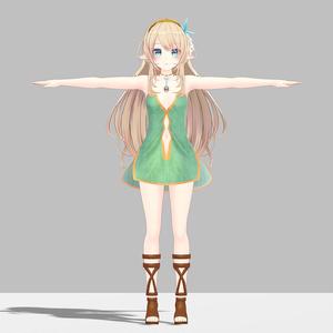 ルシナちゃん用の衣装、エルフドレス(テクスチャ5色入り)、ブーツ、ショーツセット