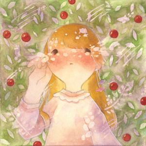ミニパネル「赤い実はじける」