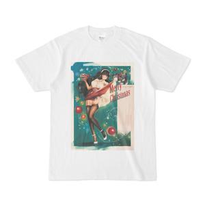 ピンナップガール風彼女ちゃんクリスマスTシャツ