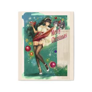 ピンナップガール風彼女ちゃんクリスマスキャンバス