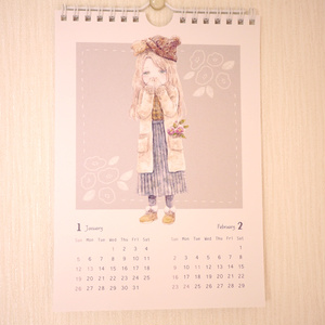 おんなのことくまのぬいぐるみカレンダー2020