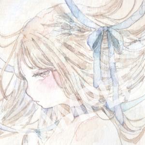 ミニ原画 / リボン(水色)
