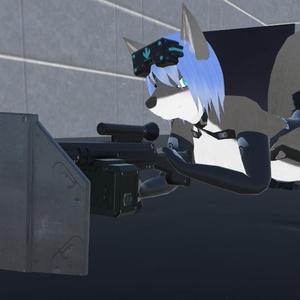 fbxモデル 盾付き軽機関銃「ShieldRifle」