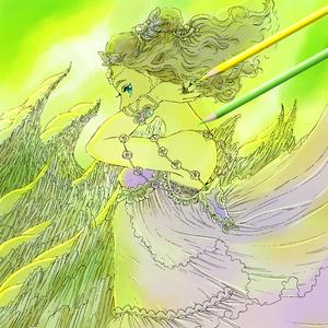 ぬりえ「緑炎岩の巫女」PNGデータ