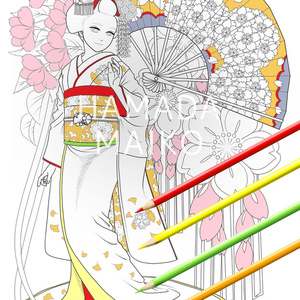 ぬりえ「桜と銀杏の舞妓さん」(全身)