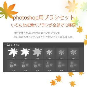 photoshop用 いろんな紅葉のブラシ素材セット