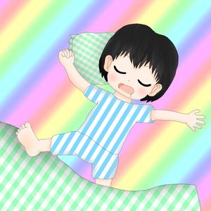 しゅうの虹色枕カバー