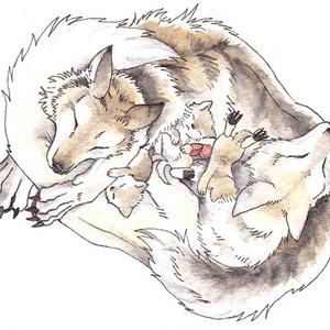 親子オオカミのキーホルダー