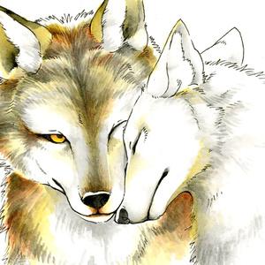 寄り添い夫婦狼バッグ