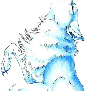 タオル 青い狼