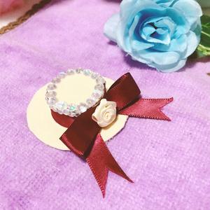 ワインレッド白薔薇/帽子