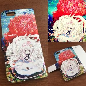 珊瑚と少女の手帳型iPhoneカバー