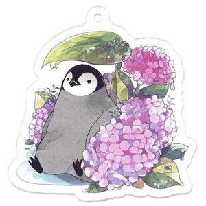 雨宿りペンギンと紫陽花キーホルダー