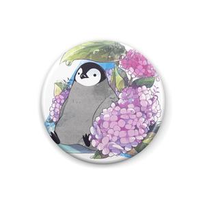 雨宿りペンギンと紫陽花缶バッジ