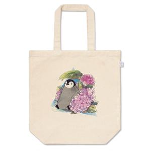 雨宿りペンギンと紫陽花トートバッグ