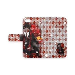 ドン諭吉(赤)手帳型iPhoneケース