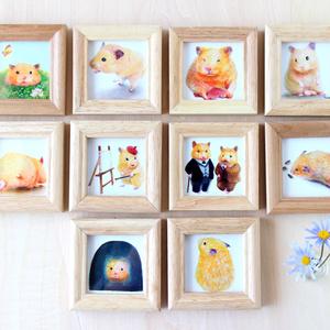 ひまわりの種ふんふんおもち【複製原画】壁掛けできる木製フレーム付き♡