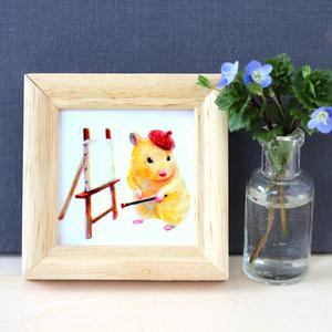 芸術家おもち【複製原画】壁掛けできる木製フレーム付き♡