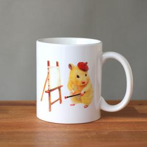 ハムスターの芸術家おもち&ひまわりの種ふんふんおもちマグカップ