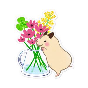 ステッカー|お花をみつめるキンクマハムスターのおもち