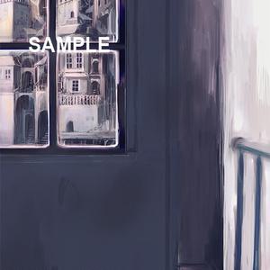 「窓際の少女と街(背景素材)」ダウンロード商品