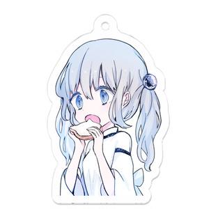「ねこパンを食べる少女」アクリルキーホルダー