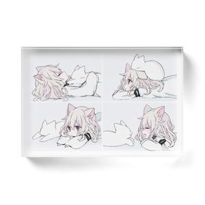 「白猫ガールと白猫」アクリルブロック