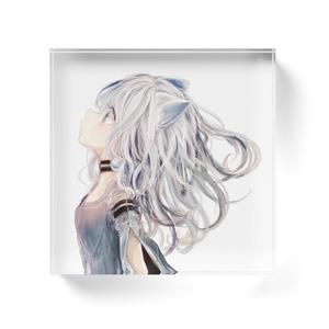 「白猫ガール」アクリルブロック