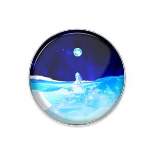「夜空の月と淡い少女」ピンバッジ