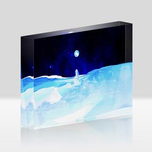 「夜空の月と淡い少女」アクリルブロック