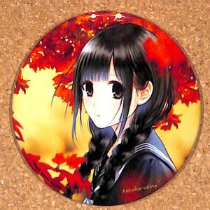 春夏秋冬、黒髪セーラー服少女 表紙イラスト    缶バッチ(缶バッジ)  タイプB