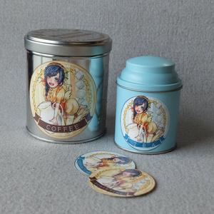 【創作キャラ】コーヒーorティーステッカー 手乗りサナギsweet time