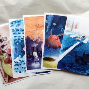 水彩イラストポストカード 5枚セット