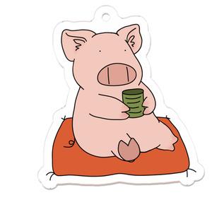 ひと息入れる豚