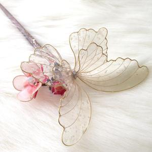 アメリカンフラワー 梅と蝶の簪