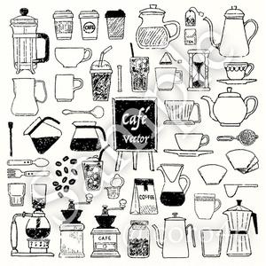 カフェ手描きベクター素材詰合せ