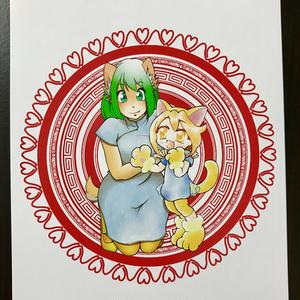 テワ&さんにゃんポストカード(中華)