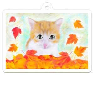 子猫と紅葉