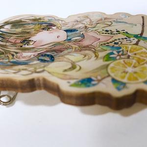 木製バッジ「夏レモン」