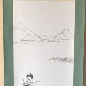 東方水墨画掛軸「射命丸湖上図」