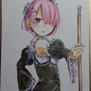 ミニ手描きイラスト色紙