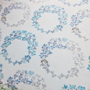 【マルチクロス】万年筆のインクの宝石と葉っぱのリース 青灰/青緑