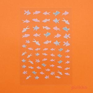 レジン封入用シール(白インク版) 金魚イラスト3
