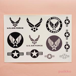 アメリカ空軍マークシール(モノクロ)(A5判)